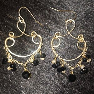 Stunning gold & black stone earrings